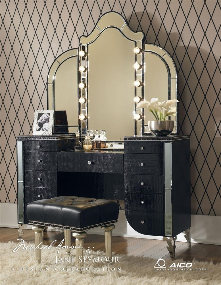 Vanity With Mirror Lights And Chair : Hollywood Swank Vanity Tables Vanity Table with Mirror